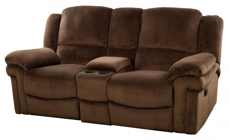 Jared Chocolate Reclining Loveseat with Console