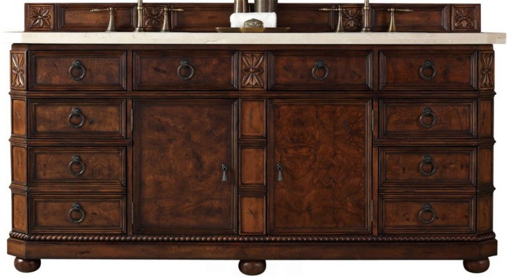 "Regent 72"" English Burl Double 4Cm Top Vanity"