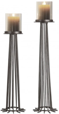 Bardo Aged Iron Candleholders Set of 2
