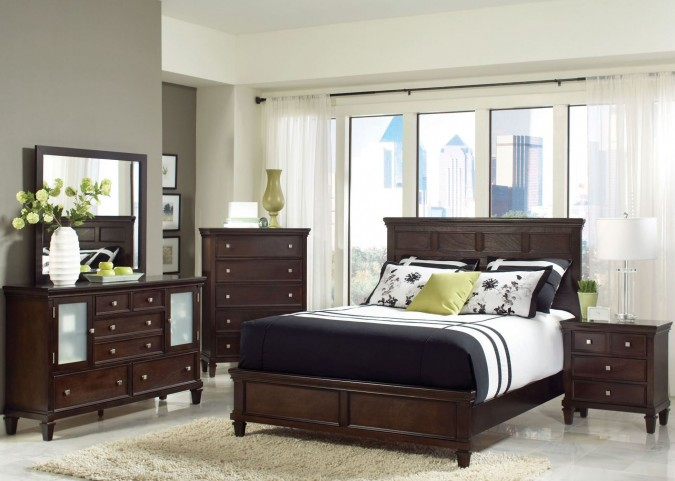 Camellia Brown Panel Bedroom Set