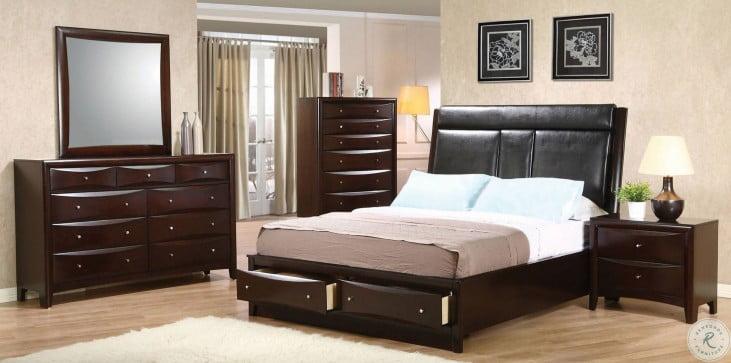 Phoenix Upholstered Storage Bedroom Set