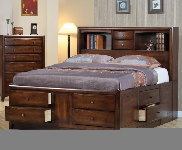 Hillary Walnut King Storage Bed