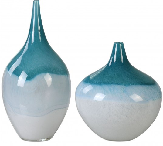 Carla Teal White Vases Set of 2