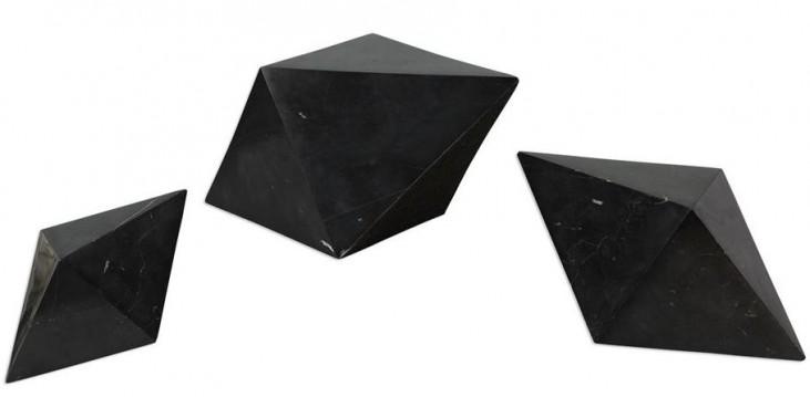 Rhombus Black Marble Sculpture Set of 3
