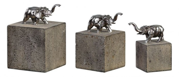 Tiberia Elephant Sculpture Set of 3