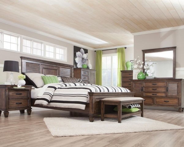 Franco Burnished Oak Panel Bedroom Set