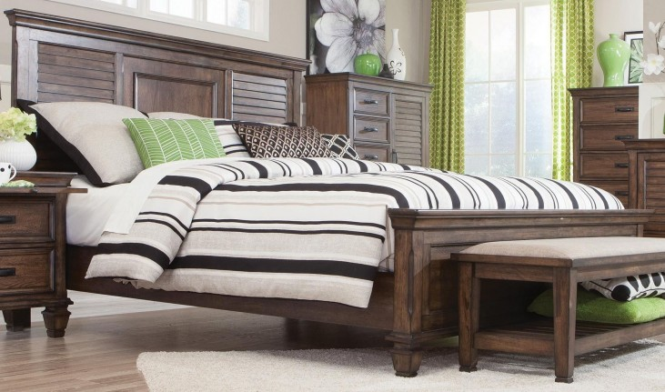 Franco Burnished Oak Queen Panel Bed