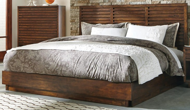 Avery Aged Bourbon King Platform Bed