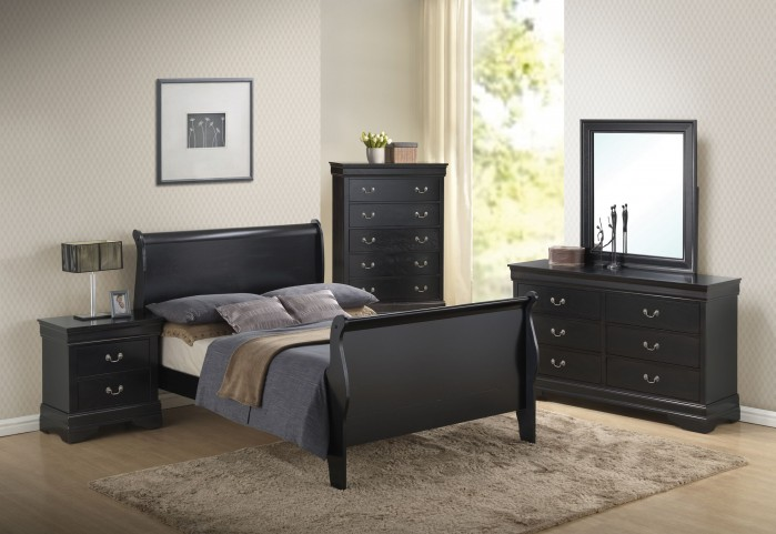 Louis Philippe Black Sleigh Bedroom Set