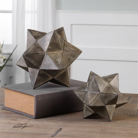Geometric Stars Concrete Sculpture Set of 2