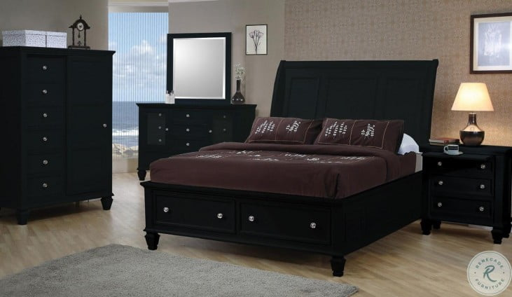 Sandy Beach Black Sleigh Storage Bedroom Set