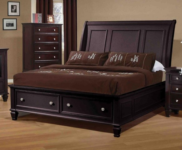 Sandy Beach Cappuccino Queen Sleigh Storage Bed