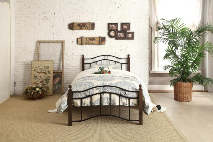 Averny Black & Brown Twin Metal Platform Bed