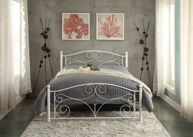Pallina White Full Metal Platform Bed