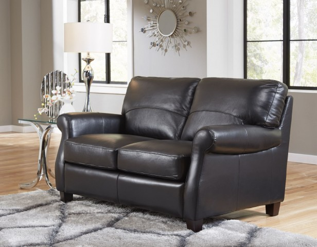 Carlisle Black Leather Loveseat