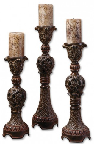 Rosina Walnut Brown Candlesticks, Set of 3