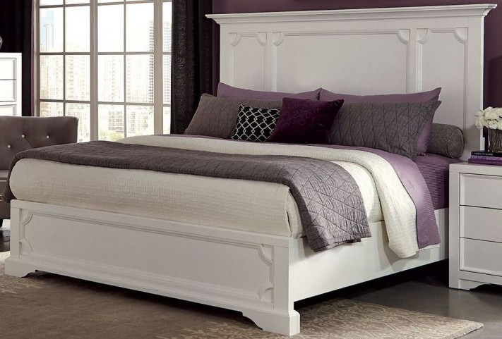 Furiani White King Panel Bed