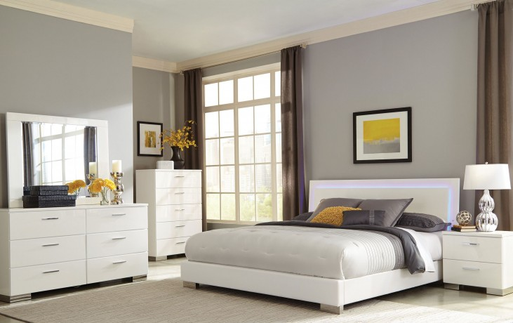 Felicity White Platform Bedroom Set