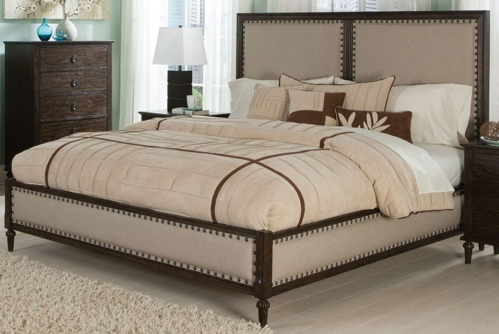 Saville Dark Oak Queen Panel Bed