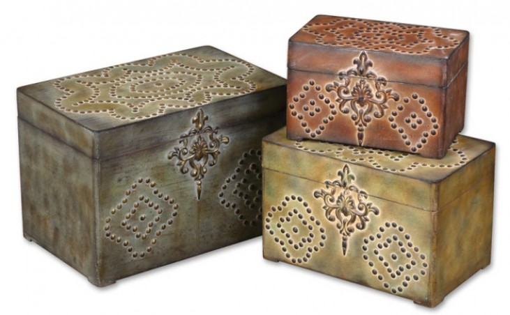Hobnail Weathered Boxes, Set of 3