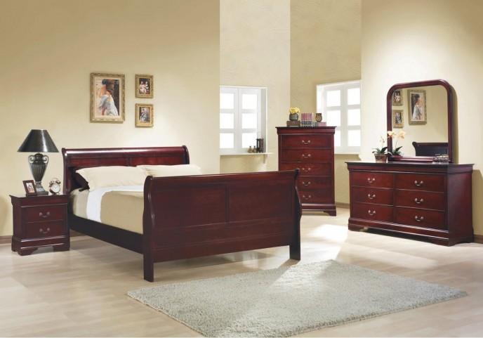 Louis Philippe Reddish Brown Sleigh Bedroom Set