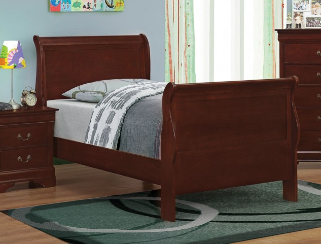 Louis Philippe Reddish Brown Twin Sleigh Bed