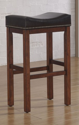 B2-203-30L Brown Wood Frame Backless Stool