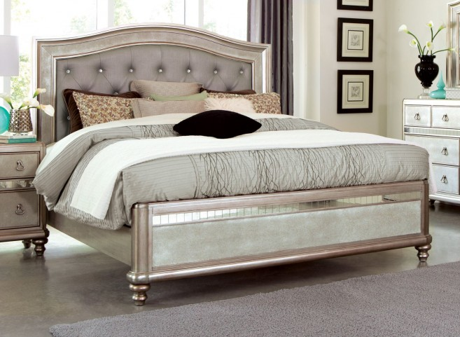 Bling Game Metallic Platinum Queen Panel Bed