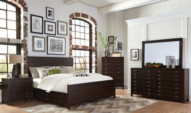 Lanchester Cocoa Panel Storage Bedroom Set