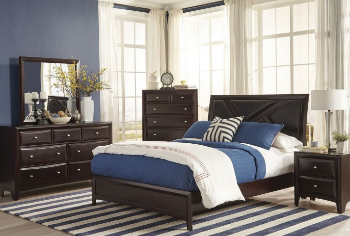 Rossville Medium Cappuccino Platform Bedroom Set