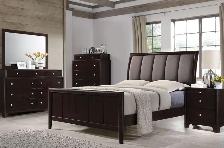 Madison Dark Merlot Panel Upholstered Bedroom Set