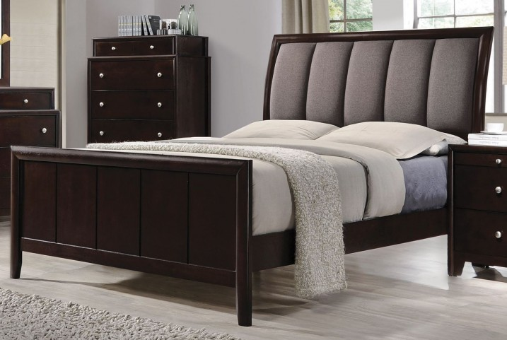 Madison Dark Merlot King Panel Upholstered Bed