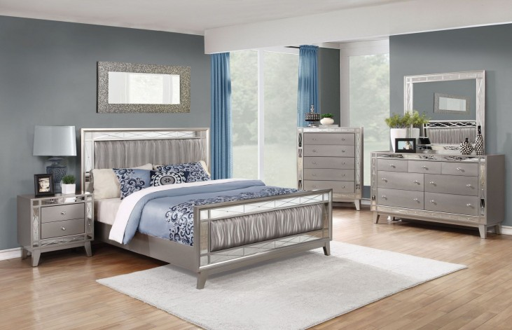 Leighton Metallic Mercury Panel Bedroom Set