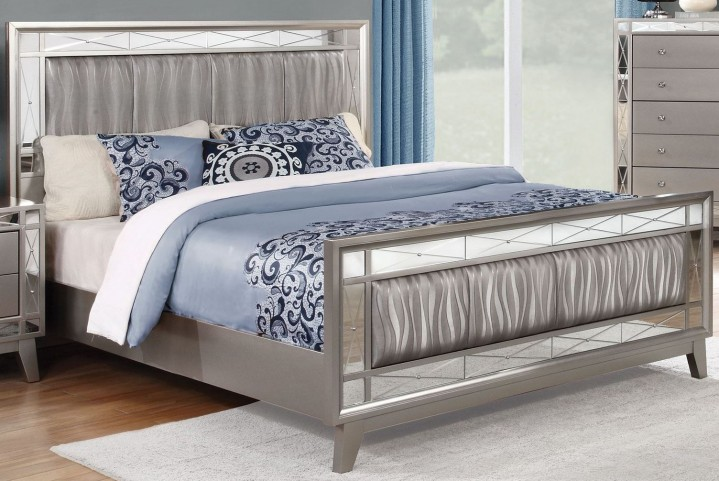 Leighton Metallic Mercury Queen Panel Bed