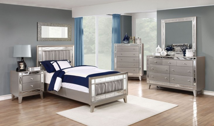 Leighton Metallic Mercury Youth Panel Bedroom Set