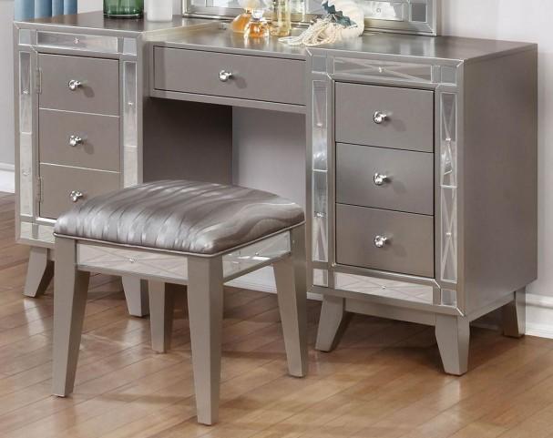 Leighton Metallic Mercury Vanity Desk and Stool