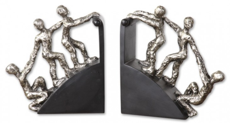 Helping Hand Nickel Bookends, Set of 2