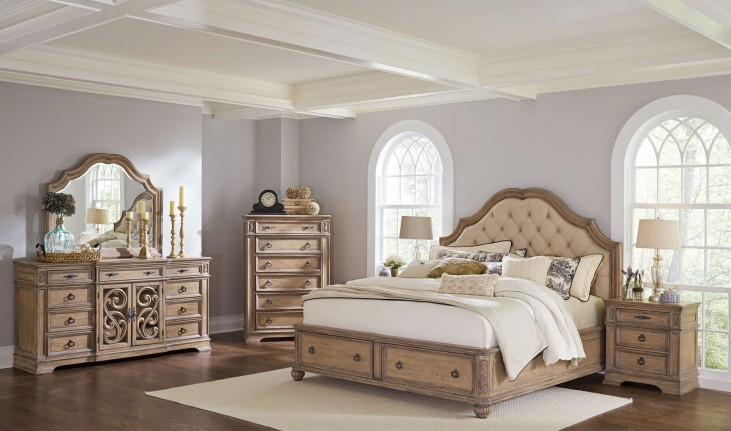 Ilana Antique Linen Panel Storage Bedroom Set