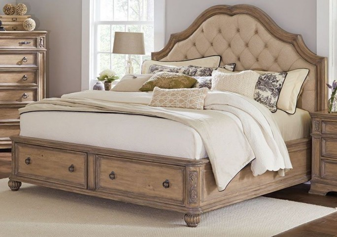 Ilana Antique Linen King Panel Storage Bed
