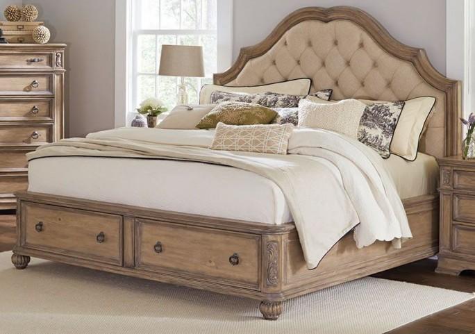 Ilana Antique Linen Cal. King Panel Storage Bed