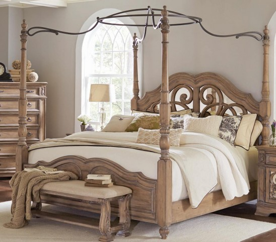 Ilana Antique Linen King Poster Bed