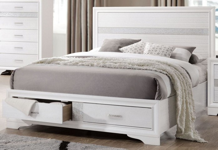 Miranda White King Storage Platform Bed