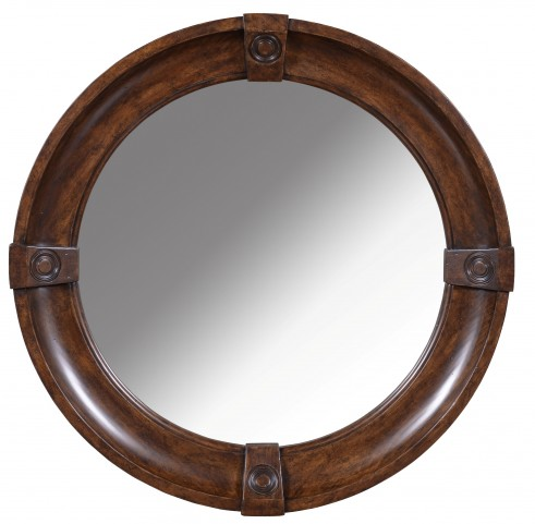 Whiskey Barrel Oak Round Mirror