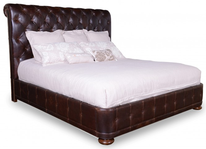 Whiskey Barrel Oak Queen Upholstered Platform Bed