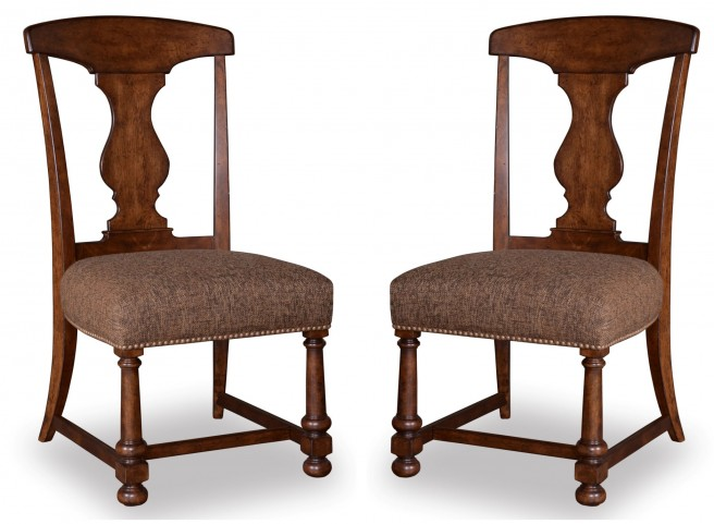 Whiskey Barrel Oak Splat-Back Side Chair Set of 2