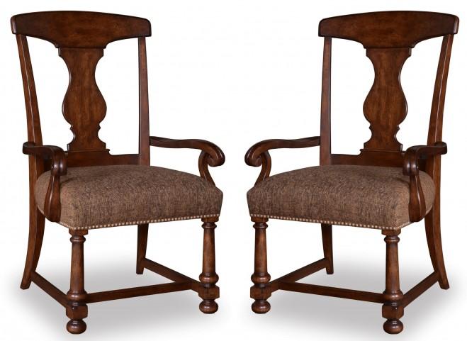 Whiskey Barrel Oak Splat-Back Arm Chair Set of 2