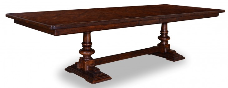 Whiskey Barrel Oak Trestle Extendible Dining Table
