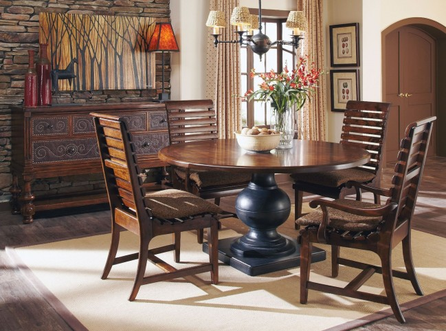 Whiskey Oak Round Dining Room Set