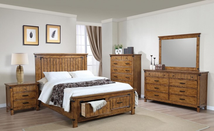 Brenner Rustic Honey Panel Storage Bedroom Set