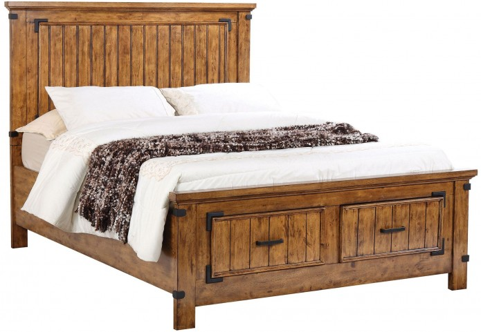 Brenner Rustic Honey Cal. King Panel Storage Bed